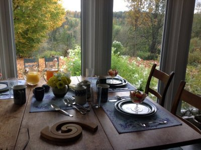 dining table dishes and flowers maple tree viewed thru sun room windows mountains in background