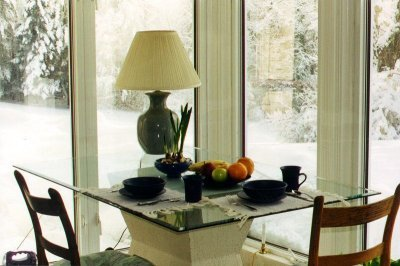 glass top table set with purple earthenware snow outside glass walls